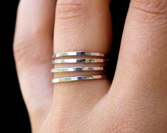 Sterling Silver stack ring set of 4, medium thickness, skinny silver stacking rings, silver stack rings, 925 sterling silver stack ring