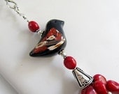 BIRDS 'n BERRIES - Coral and Black Onyx Multi-Strand Necklace