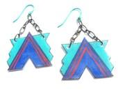 """geometric shrink plastic earrings """"aerodynamic"""" in blue teal pink"""