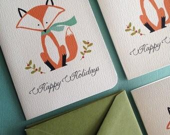 Holiday Fox- set of 12 Christmas greeting cards
