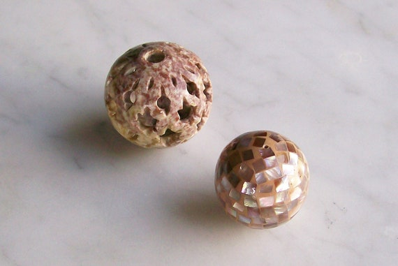 Vintage Big Beads Shell Carved Soapstone 2 PCS 24mm and 30mm