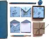 Blue Birds and Nests, Mini Stationery Set, Blue Envelopes, Blank Note Cards, Greeting Cards, Cute Stationery, Small Envelopes