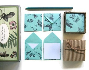 Mint Green Flora and Fauna, Cute Stationery Set, Small Square Envelopes, Thank You Blank Note Cards, Folded, Greetings, Gift Tags Under 15