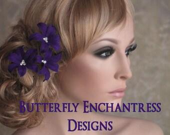 3 Dark Purple Wild Orchid Flower Bridal Hair Pins