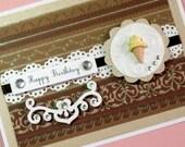 Birthday Card, Elegant Jeweled Ice Cream Cone Birthday Card, Handmade Card, Greeting Card, Brown Embellished Glittered Fancy Card