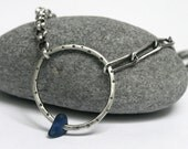 Sterling Silver Blue Seaglass O Necklace Assymetrical Chains Statement  .  Oh My