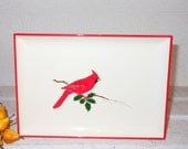 Vintage red bird tray