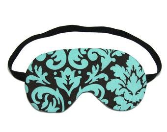 Brown and Blue Damask Sleep Eye Mask