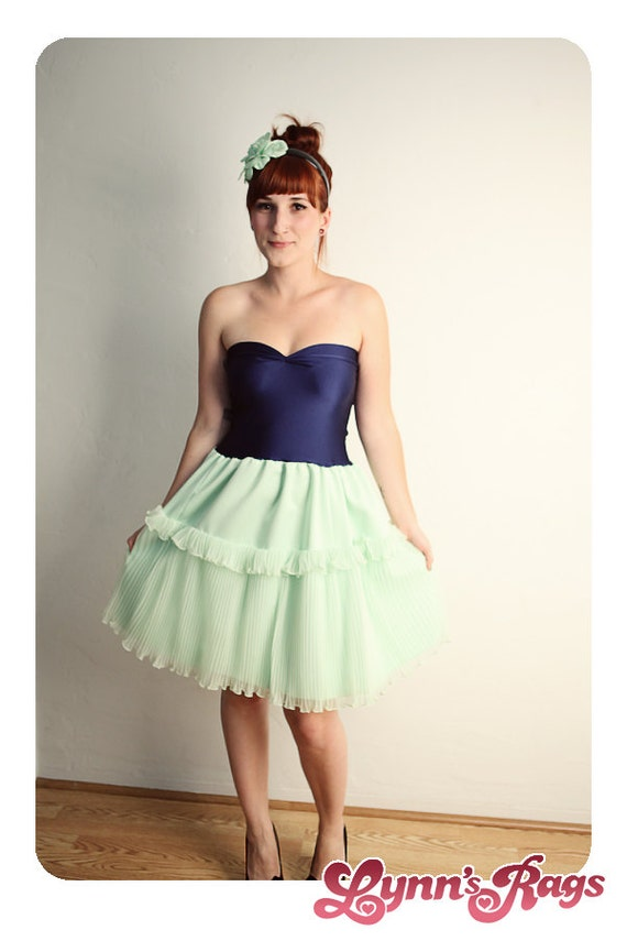 Mint Green Navy Blue Ruffle DRESS Bow Handmade Strapless Retro