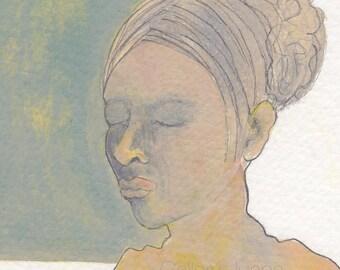 original female figure painting, 5,5 x 9