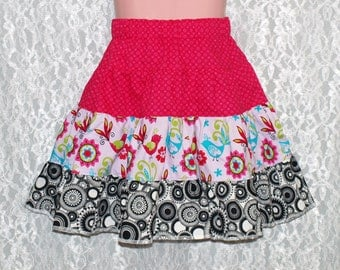 size: 5T - FRILLY BIRDS Tiered Skirt - Boutique Girls Skirt  - OOAK