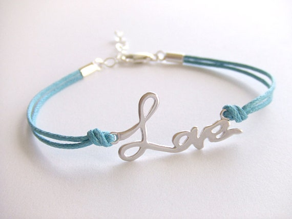 Love Jewelry Bracelet - Turquoise Cord - Celebrity - Silver Plated Bracelet