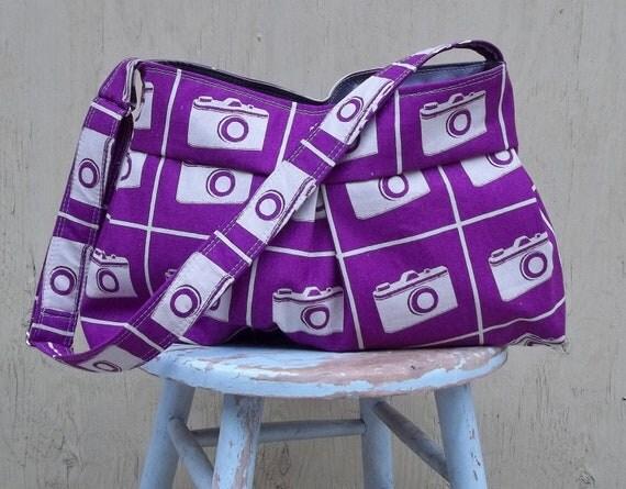 Vintage Camera Bag Turquoise, 3 Pockets, Key Fob, Adjustable Strap