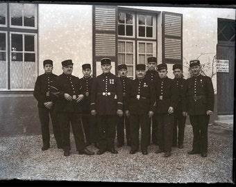 vintage photo French Police Glass Negative 1930s