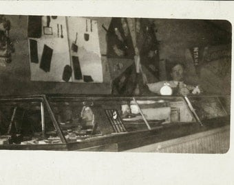 vintage photo Unusual Mysterious Man in Dime Store RPPC