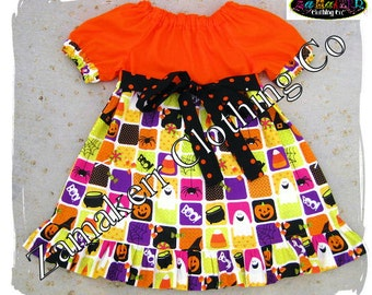 Custom Boutique Clothing Girl Halloween Dress Toddler Infant Baby Trick or Treat Costume Pageant 3 6 9 12 18 24 month size 2T 3T 4T 5T 6 7 8