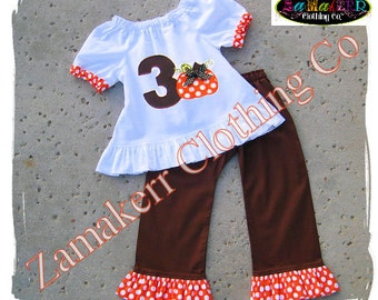 Girl Fall Thanksgiving Pumpkin Outfit - Custom Boutique Clothing Top Ruffle Pant Set 3 6 9 12 18 24 month size 2T 2 3T 3 4T 4 5T 5 6 7 8