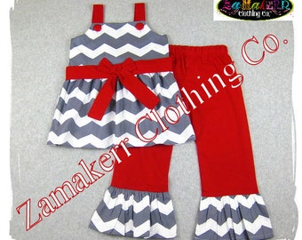 Girl Chevron Christmas Outfit - Custom Boutique Holiday Santa Pant Set 3 6 9 12 18 24 month size 2T 3T 4T 5T 6 7 8