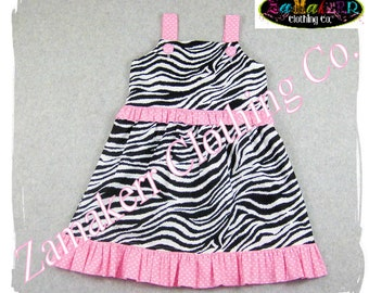 Custom Boutique Clothes - Girl ZEBRA Pink Polka Dot Girl Aline Jumper Ruffle Dress 3 6 9 12 18 24 month size 2T 2 3T 3 4T 4 5T 5 6 7 8