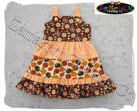 2 / 2T Ready To Ship - Girl FALL Dress - Pumpkin Autumn Thanksgiving Tiered Ruffle Dress 3 6 9 12 18 24 month size 2T 2