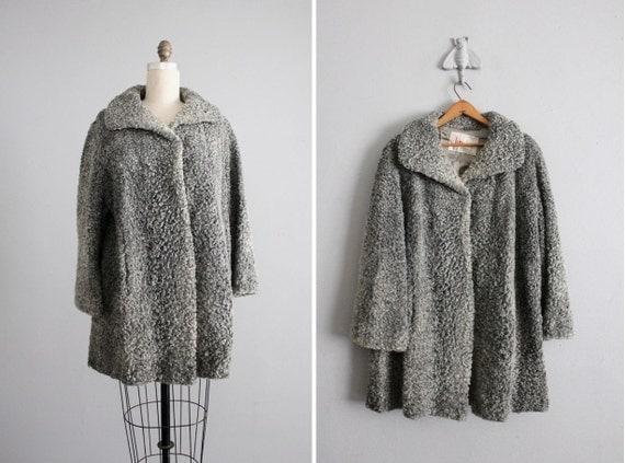 curly lamb coat / 1940s persian coat / gray fur coat