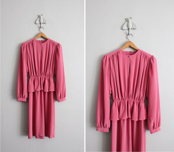final sale / 1970s vintage matte cerise peplum tea dress
