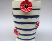Le Parisien Striped Vase - Handmade and Hand Sculpted Stoneware and Porcelain Pottery