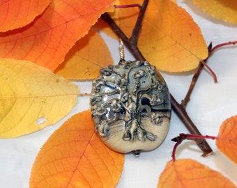 lampwork life tree glass pendant