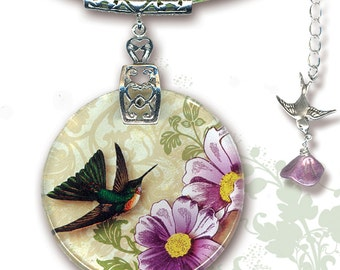 Hummingbird Necklace - BOTANCIALZ Collection by Tzaddishop - Reversible Glass Art Jewelry - Flight of the Hummingbird