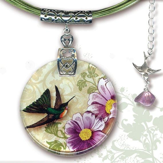 Hummingbird Necklace - BOTANCIALZ Collection by Tzaddishop - Reversible Glass Art Jewelry - Flight of the Hummingbird