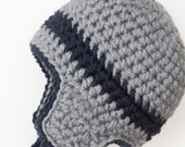 Toddler Boy Aviator Hat - Gray and Navy Blue