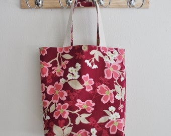Roll Up Market Bag - Dogwood Bloom in Berry