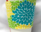 Coffee Cozy, Cup Sleeve, Eco Friendly, Slip-on: Teal, Green and Yellow Flowers
