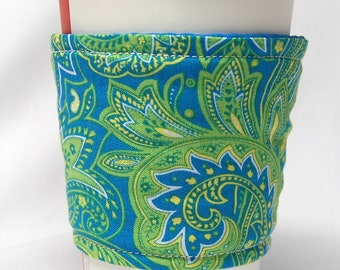 Coffee Cozy/Cup Sleeve Eco Friendly Slip-on, Teacher Appreciation, Co-Worker Gift, Bulk Discount: Blue, Green and Yellow Paisley