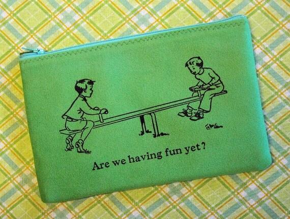Zipper Pouch - Pencil Case - Ultrasuede - Grass Green - Are We Having Fun Yet