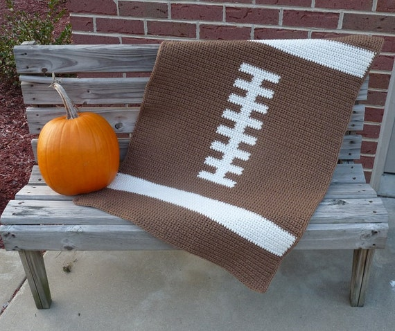 Crochet Pattern For Football Blanket : Football Baby Blanket Crochet PATTERN INSTANT DOWNLOAD