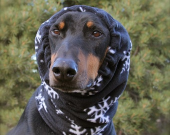 Polarfleece Snood for Large Dog - Black with Snow Flakes - Dog Snood
