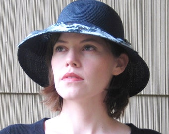 Dark Navy Blue Straw Hat, Silk Brocade Brim, Handmade Millinery Womens Hat, Fancy Summer Sun Hat, Indochine