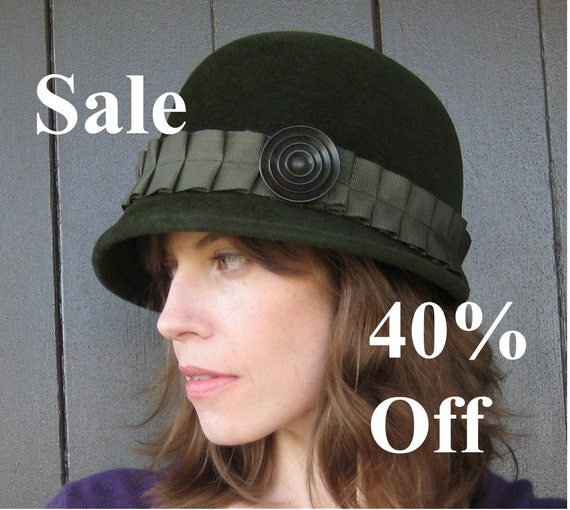 Olive Green Felt Hat, Handmade Millinery, Pleated Grosgrain Ribbon, Vintage Button, Daphne, CIJ Sale 40% off, Christmas in July