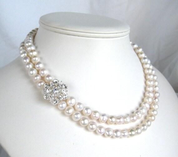 Rhinestone Snowflake Bridal Necklace, 2 Strand Pearl Necklace, Silver, Handmade, Snow Bride
