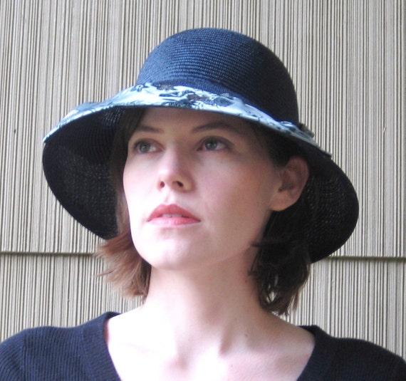 Dark Navy Blue Straw Hat, Silk Brocade Brim, Handmade Millinery Womens Hat, Fancy Summer Sun Hat, Indigo Brimmed Vintage Style, Indochine