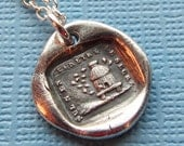 Beehive Wax Seal Necklace - No One Penetrates My Secrets - Honey Bee Hive antique French motto wax seal jewelry