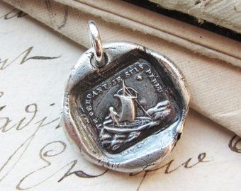 """Wax Seal Charm Jewelry  """"If I Lose You I am Lost"""" Sailboat  Polar Star - antique French wax seal jewelry in fine silver French love motto"""
