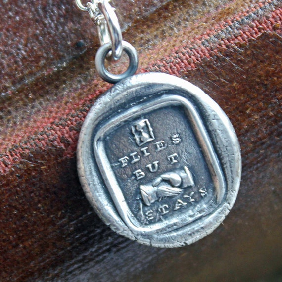 Friendship wax seal charm necklace - Time Flies but the Friendship Stays - Friendship Necklace - E2345