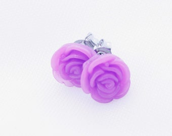 Purple Flower Earrings, Silver Plated Studs