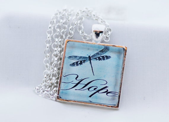 Blue Dragonfly Hope Necklace, Silver Pendant, Digital Art Picture Jewelry