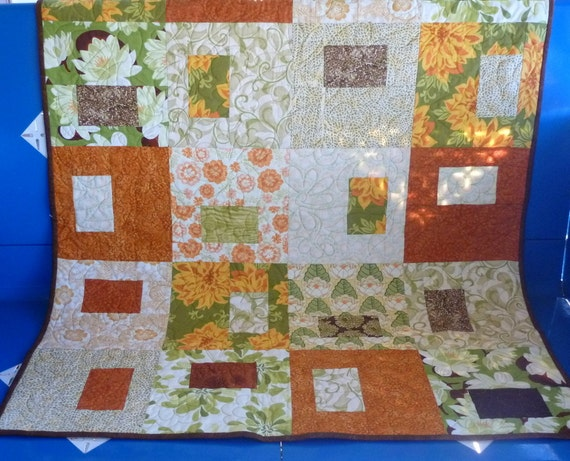 Floral block baby lap throw quilt