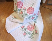 Pink Cross Stitch Roses Handquilted, Ready to Ship