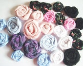 2 Dozen Fabric Rolled Flowers - Brooch/Pins, Cards, Jewelry, Wreaths, Pillows, Embellishments,ect.