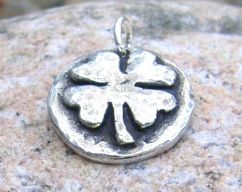 Little Shamrock Pendant, Four Leaf Clover Charm, Good Luck Charm, Rustic Jewelry, St. Patrick's Day